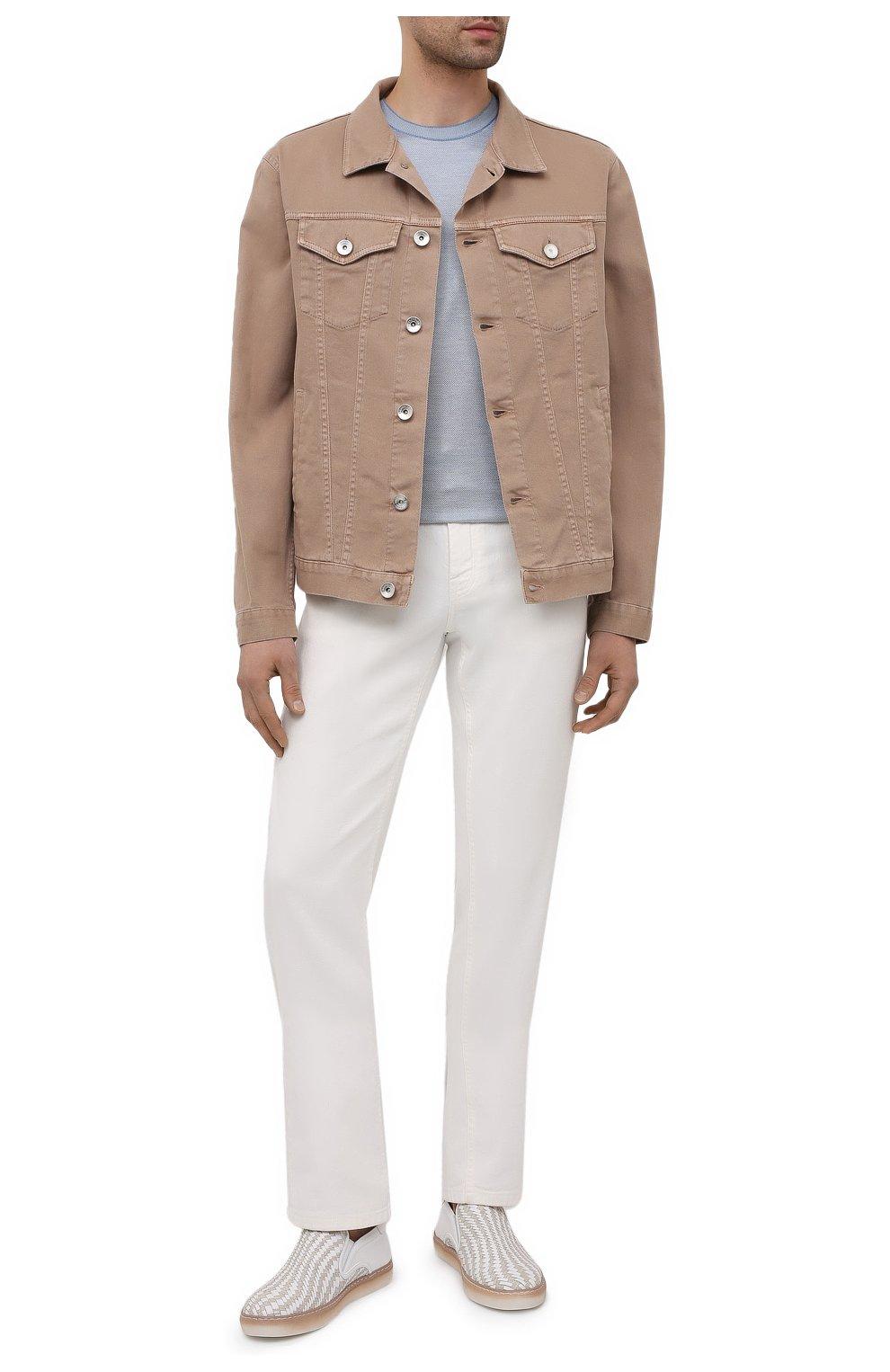 Мужские кожаные слипоны ZILLI белого цвета, арт. MDV-T087/002   Фото 2