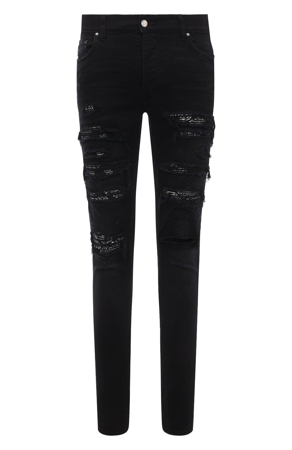 Мужские джинсы AMIRI черного цвета, арт. MDS014-003 | Фото 1 (Силуэт М (брюки): Узкие; Кросс-КТ: Деним; Длина (брюки, джинсы): Стандартные; Стили: Гранж; Материал внешний: Хлопок; Детали: Потертости)