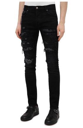 Мужские джинсы AMIRI черного цвета, арт. MDS014-003 | Фото 3 (Силуэт М (брюки): Узкие; Кросс-КТ: Деним; Длина (брюки, джинсы): Стандартные; Стили: Гранж; Материал внешний: Хлопок; Детали: Потертости)