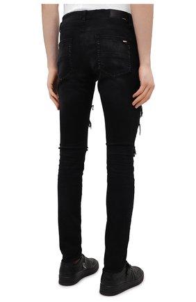 Мужские джинсы AMIRI черного цвета, арт. MDS014-003 | Фото 4 (Силуэт М (брюки): Узкие; Кросс-КТ: Деним; Длина (брюки, джинсы): Стандартные; Стили: Гранж; Материал внешний: Хлопок; Детали: Потертости)