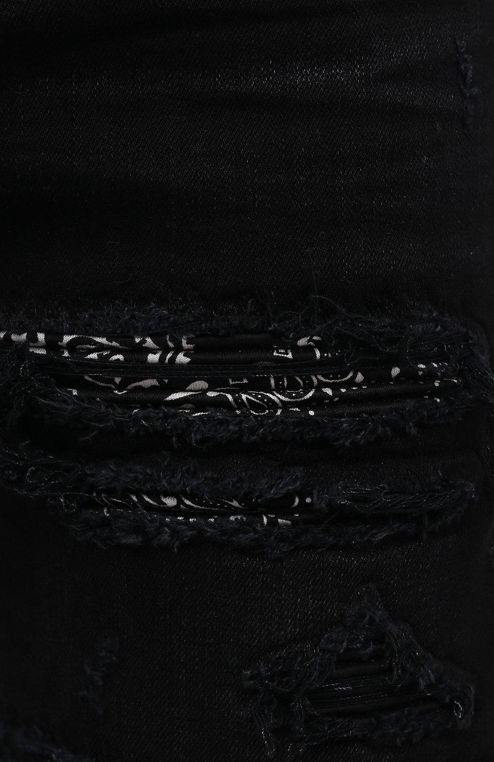 Мужские джинсы AMIRI черного цвета, арт. MDS014-003 | Фото 5 (Силуэт М (брюки): Узкие; Кросс-КТ: Деним; Длина (брюки, джинсы): Стандартные; Стили: Гранж; Материал внешний: Хлопок; Детали: Потертости)