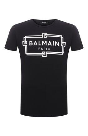 Мужская хлопковая футболка BALMAIN черного цвета, арт. VH0EF000/G065 | Фото 1 (Длина (для топов): Стандартные; Материал внешний: Хлопок; Рукава: Короткие; Принт: С принтом; Стили: Кэжуэл)