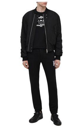 Мужская хлопковая футболка BALMAIN черного цвета, арт. VH0EF000/G065   Фото 2 (Длина (для топов): Стандартные; Материал внешний: Хлопок; Рукава: Короткие; Принт: С принтом; Стили: Кэжуэл)