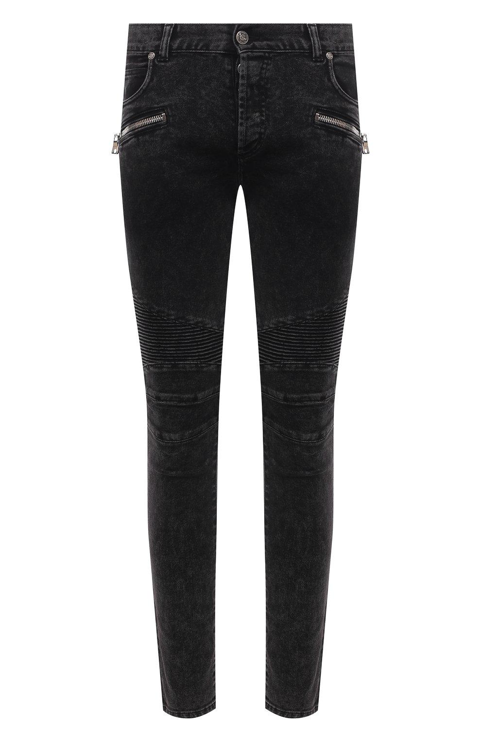 Мужские джинсы BALMAIN черного цвета, арт. VH0MG005/107D | Фото 1 (Силуэт М (брюки): Узкие; Длина (брюки, джинсы): Стандартные; Материал внешний: Хлопок)