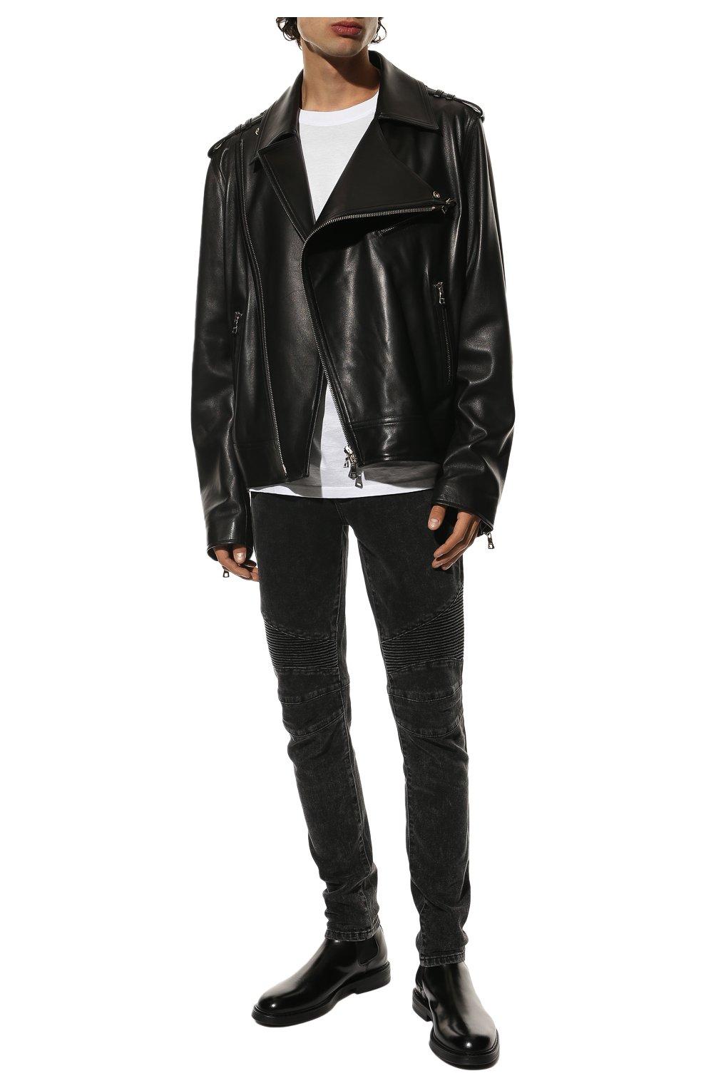 Мужские джинсы BALMAIN черного цвета, арт. VH0MG005/107D | Фото 2 (Силуэт М (брюки): Узкие; Длина (брюки, джинсы): Стандартные; Материал внешний: Хлопок)
