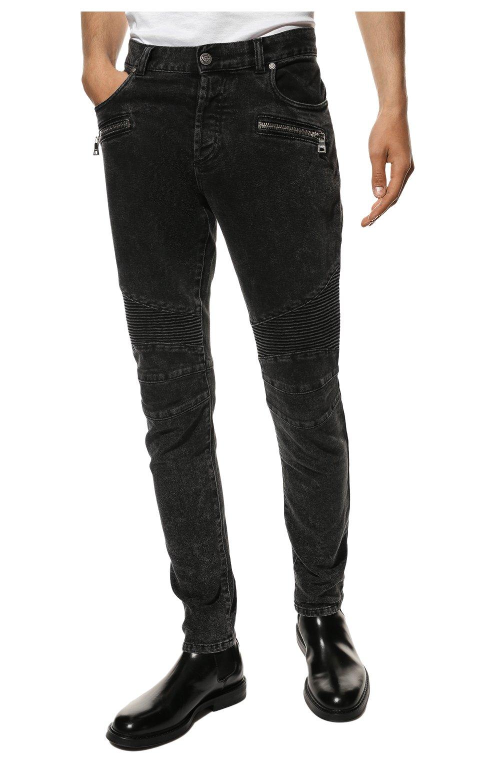 Мужские джинсы BALMAIN черного цвета, арт. VH0MG005/107D | Фото 3 (Силуэт М (брюки): Узкие; Длина (брюки, джинсы): Стандартные; Материал внешний: Хлопок)