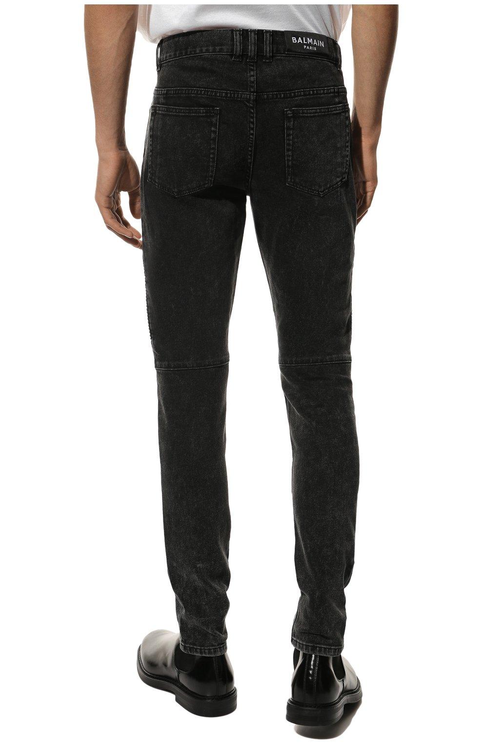 Мужские джинсы BALMAIN черного цвета, арт. VH0MG005/107D | Фото 4 (Силуэт М (брюки): Узкие; Длина (брюки, джинсы): Стандартные; Материал внешний: Хлопок)