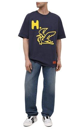Мужская хлопковая футболка HERON PRESTON темно-серого цвета, арт. HMAA026S21JER0030718 | Фото 2 (Длина (для топов): Стандартные; Рукава: Короткие; Материал внешний: Хлопок; Принт: С принтом; Стили: Гранж)