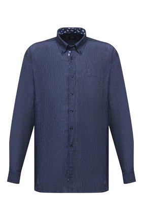 Мужская льняная рубашка PAUL&SHARK синего цвета, арт. 21413462/F7E | Фото 1 (Материал внешний: Лен; Рукава: Длинные; Длина (для топов): Удлиненные; Случай: Повседневный; Принт: Однотонные; Стили: Кэжуэл; Рубашки М: Classic Fit; Манжеты: На пуговицах; Big sizes: Big Sizes; Воротник: Button down)