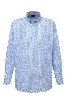 Мужская хлопковая рубашка PAUL&SHARK голубого цвета, арт. 21413430/C00 | Фото 1 (Материал внешний: Хлопок; Рукава: Длинные; Случай: Повседневный; Принт: С принтом; Стили: Кэжуэл; Рубашки М: Regular Fit; Манжеты: На пуговицах; Big sizes: Big Sizes; Воротник: Button down; Длина (для топов): Удлиненные)
