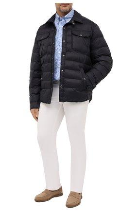 Мужская хлопковая рубашка PAUL&SHARK голубого цвета, арт. 21413430/C00 | Фото 2 (Материал внешний: Хлопок; Рукава: Длинные; Случай: Повседневный; Принт: С принтом; Стили: Кэжуэл; Рубашки М: Regular Fit; Манжеты: На пуговицах; Big sizes: Big Sizes; Воротник: Button down; Длина (для топов): Удлиненные)