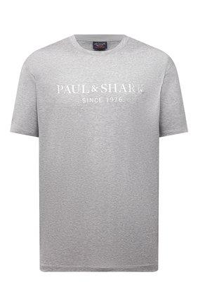 Мужская хлопковая футболка PAUL&SHARK серого цвета, арт. 21411022/C00/3XL-6XL | Фото 1
