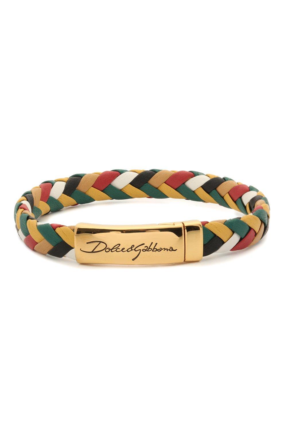 Мужской кожаный браслет DOLCE & GABBANA разноцветного цвета, арт. WBM5R3/W1111 | Фото 1 (Материал: Кожа)