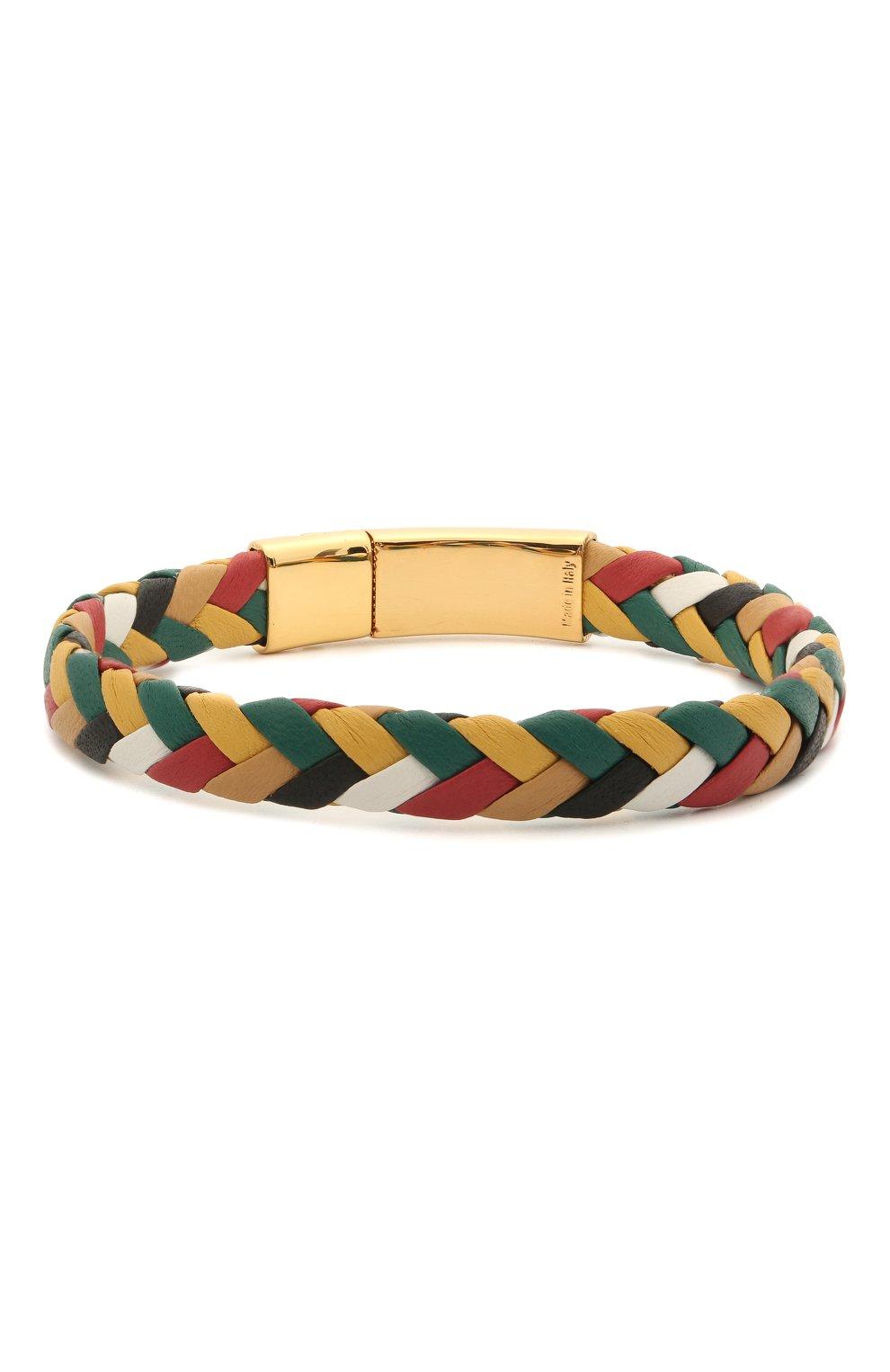 Мужской кожаный браслет DOLCE & GABBANA разноцветного цвета, арт. WBM5R3/W1111 | Фото 2 (Материал: Кожа)