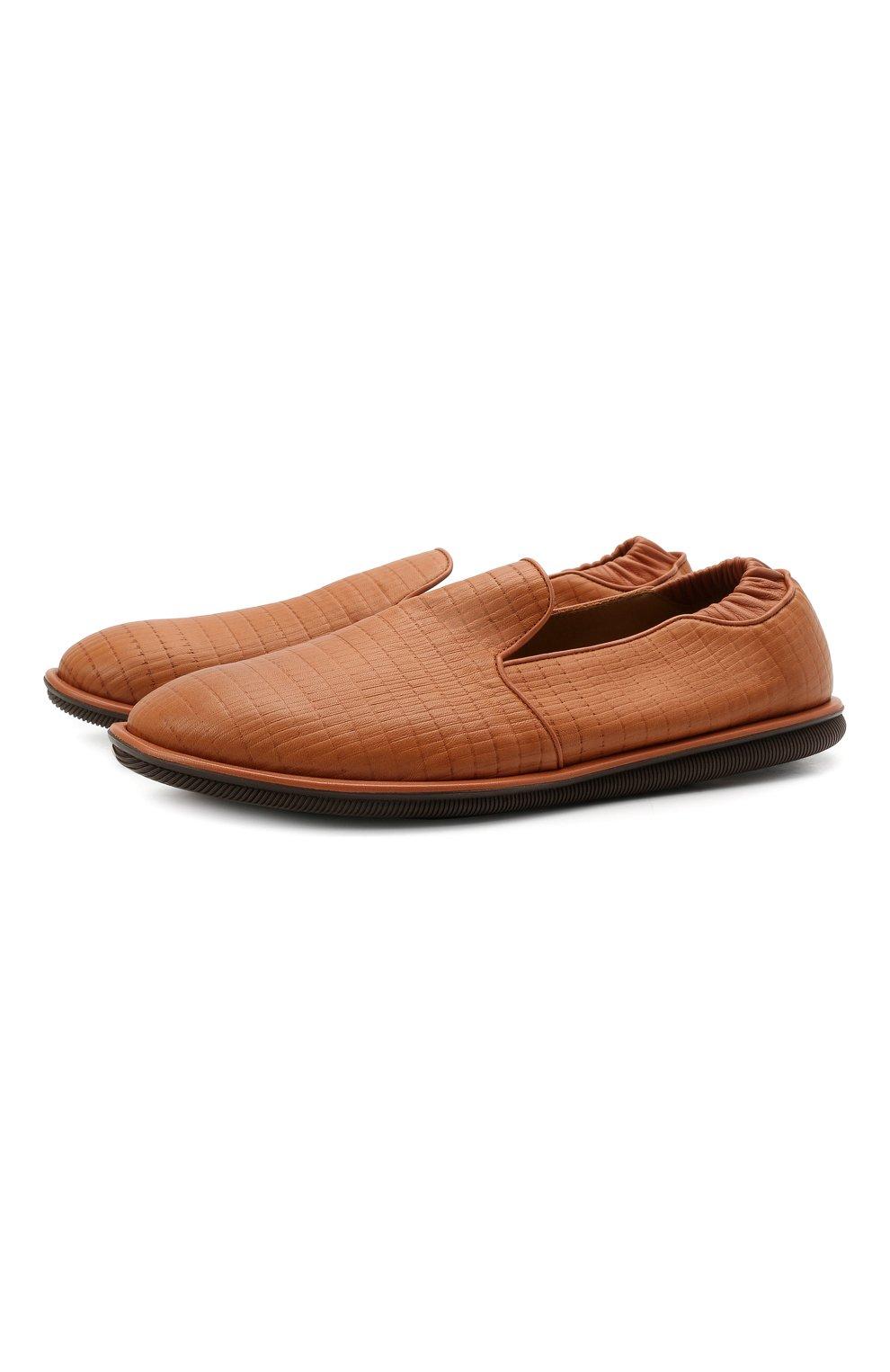 Мужские кожаные слиперы GIORGIO ARMANI коричневого цвета, арт. X2J154/XM811 | Фото 1