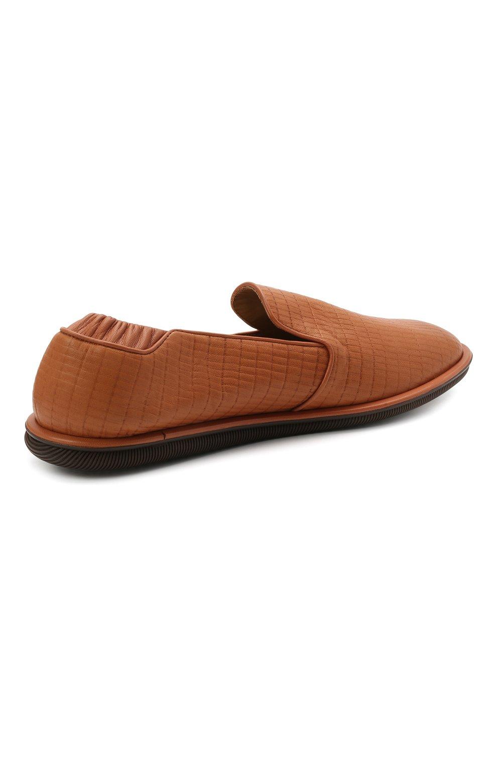 Мужские кожаные слиперы GIORGIO ARMANI коричневого цвета, арт. X2J154/XM811 | Фото 4