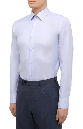 Мужская хлопковая сорочка BOSS голубого цвета, арт. 50452175 | Фото 3