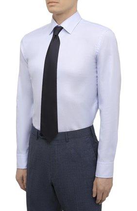 Мужская хлопковая сорочка BOSS голубого цвета, арт. 50452175 | Фото 4
