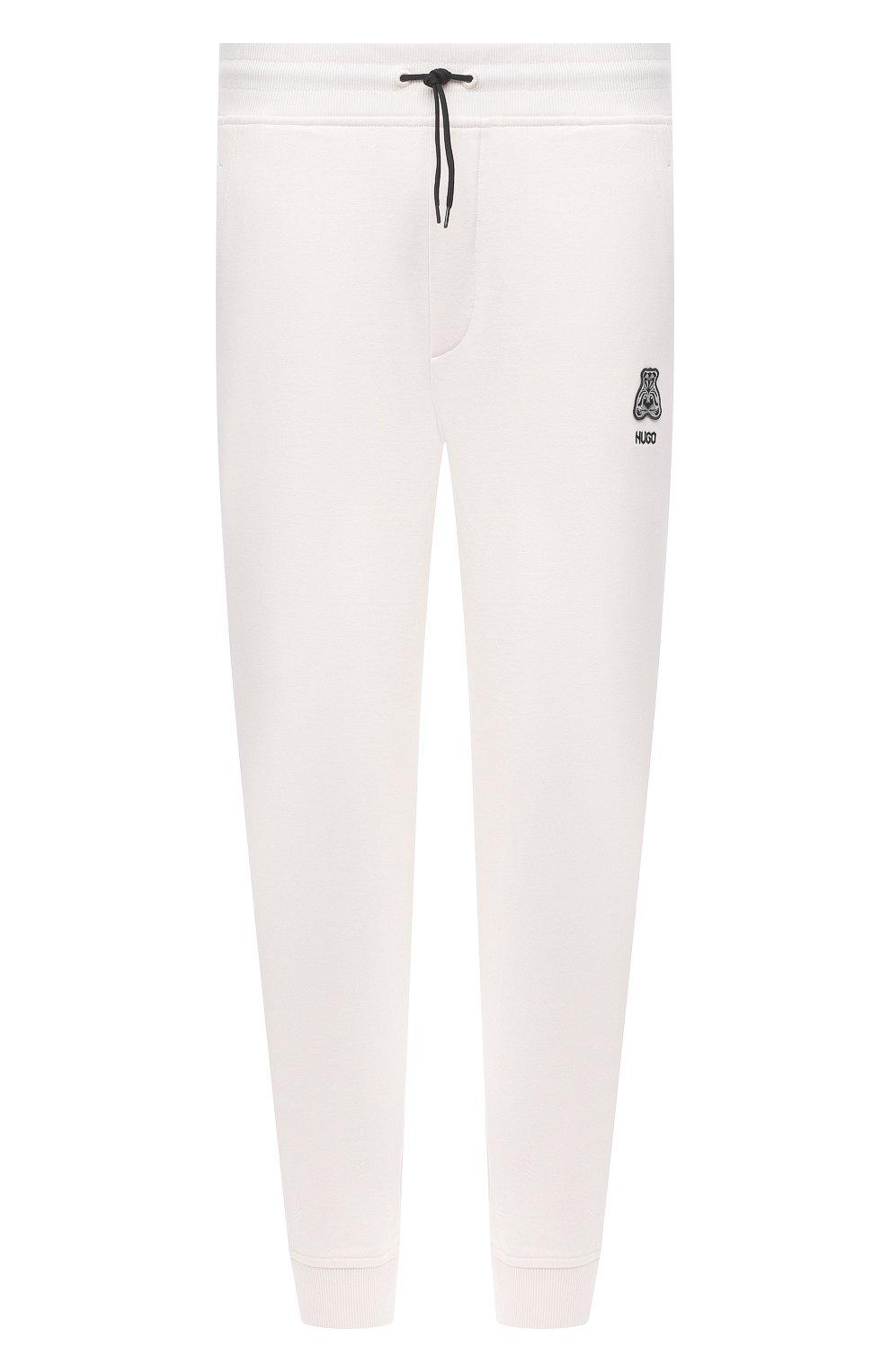 Мужские хлопковые джоггеры HUGO белого цвета, арт. 50452628 | Фото 1 (Мужское Кросс-КТ: Брюки-трикотаж; Длина (брюки, джинсы): Стандартные; Кросс-КТ: Спорт; Материал внешний: Хлопок; Стили: Спорт-шик; Силуэт М (брюки): Джоггеры)