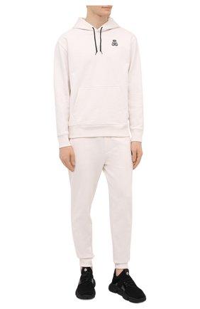 Мужские хлопковые джоггеры HUGO белого цвета, арт. 50452628 | Фото 2 (Длина (брюки, джинсы): Стандартные; Материал внешний: Хлопок; Кросс-КТ: Спорт; Стили: Спорт-шик; Силуэт М (брюки): Джоггеры; Мужское Кросс-КТ: Брюки-трикотаж)