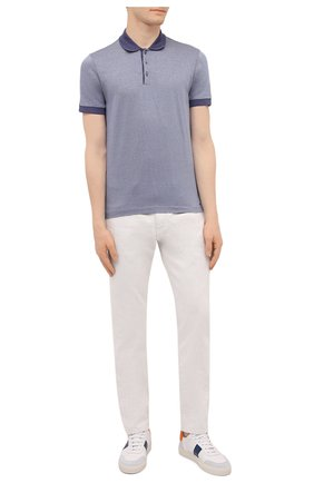 Мужское хлопковое поло BOSS синего цвета, арт. 50451060 | Фото 2