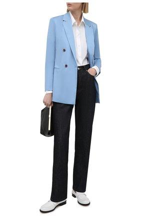 Женский хлопковый жакет BOSS голубого цвета, арт. 50452012 | Фото 2