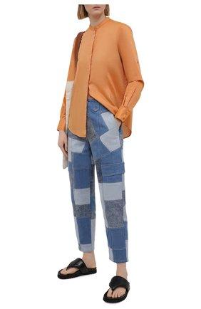 Женская хлопковая рубашка BOSS оранжевого цвета, арт. 50436922 | Фото 2