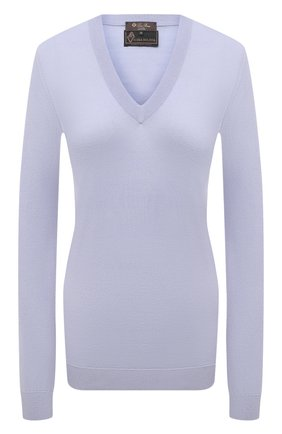 Женский шерстяной пуловер LORO PIANA светло-голубого цвета, арт. FAL6606/VVIC   Фото 1