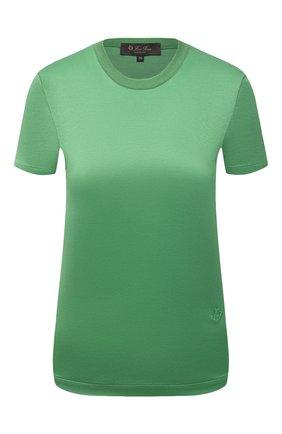 Женская хлопковая футболка LORO PIANA зеленого цвета, арт. FAI5069 | Фото 1