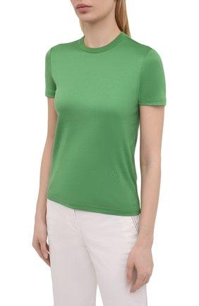 Женская хлопковая футболка LORO PIANA зеленого цвета, арт. FAI5069 | Фото 3