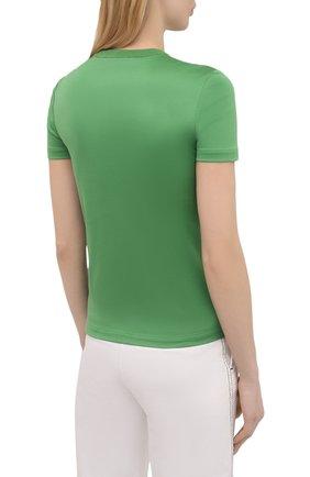 Женская хлопковая футболка LORO PIANA зеленого цвета, арт. FAI5069 | Фото 4