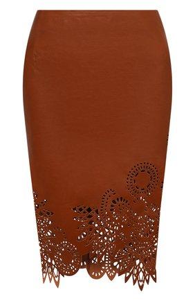 Женская кожаная юбка DRIES VAN NOTEN коричневого цвета, арт. 211-11802-2371 | Фото 1