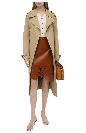 Женская кожаная юбка DRIES VAN NOTEN коричневого цвета, арт. 211-11802-2371 | Фото 2