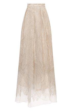 Женская шелковая юбка BRUNELLO CUCINELLI бежевого цвета, арт. MF940G3052 | Фото 1