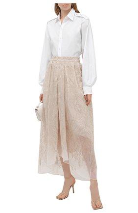 Женская шелковая юбка BRUNELLO CUCINELLI бежевого цвета, арт. MF940G3052 | Фото 2
