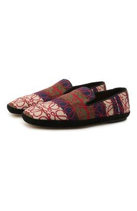 Женские текстильные лоферы LOEWE разноцветного цвета, арт. L815291X07 | Фото 1 (Материал внешний: Текстиль; Материал внутренний: Натуральная кожа; Подошва: Плоская; Каблук высота: Низкий)