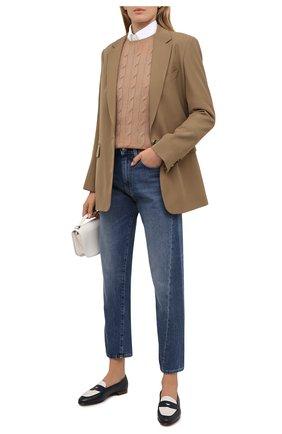 Женские кожаные пенни-лоферы halle RALPH LAUREN черно-белого цвета, арт. 800841342 | Фото 2 (Подошва: Плоская; Материал внутренний: Натуральная кожа; Каблук высота: Низкий)