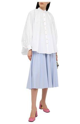 Женская хлопковая блузка LANVIN белого цвета, арт. RW-T00007-4408-E21 | Фото 2