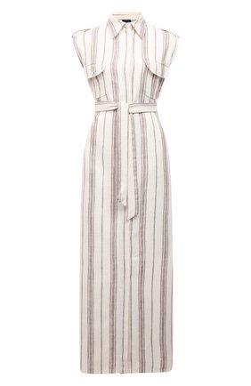 Женское платье из шелка и льна KITON светло-бежевого цвета, арт. D51313K09T15 | Фото 1