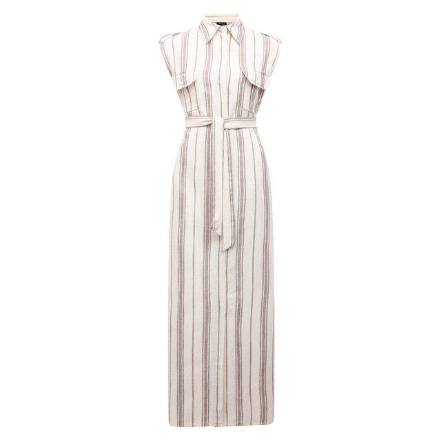 Платье из шелка и льна Kiton