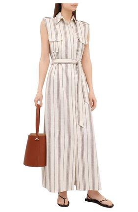Женское платье из шелка и льна KITON светло-бежевого цвета, арт. D51313K09T15 | Фото 2