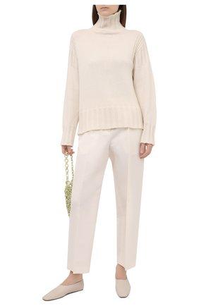 Женские хлопковые брюки JIL SANDER светло-бежевого цвета, арт. JSWS306602-WS252100 | Фото 2 (Длина (брюки, джинсы): Стандартные; Материал внешний: Шелк, Хлопок; Женское Кросс-КТ: Брюки-одежда; Силуэт Ж (брюки и джинсы): Прямые; Стили: Кэжуэл)