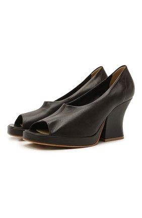 Женские кожаные туфли stack BOTTEGA VENETA темно-коричневого цвета, арт. 658959/VBP40 | Фото 1