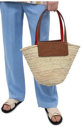 Женский сумка-тоут loubishore CHRISTIAN LOUBOUTIN коричневого цвета, арт. 1215220/L0UBISH0RE W0VEN   Фото 2