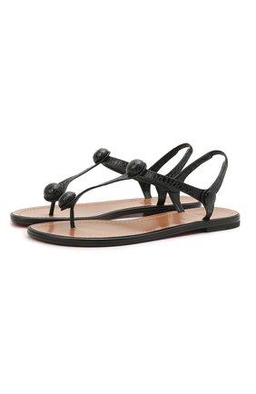 Женские кожаные сандалии planet ball CHRISTIAN LOUBOUTIN черного цвета, арт. 1210603/PLANET BALL FLAT   Фото 1