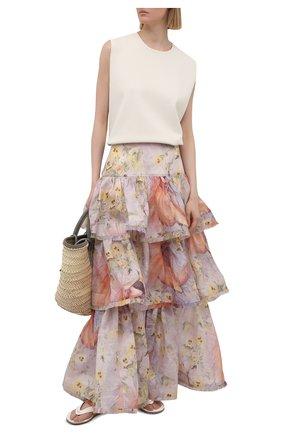 Женская юбка изо льна и шелка ZIMMERMANN розового цвета, арт. 1061SB0T   Фото 2