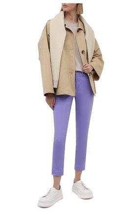 Женские хлопковые брюки POLO RALPH LAUREN фиолетового цвета, арт. 211800738 | Фото 2