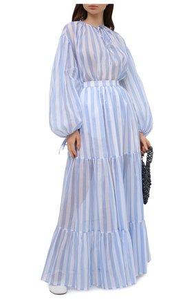 Женская хлопковая юбка MSGM голубого цвета, арт. 3042MDD108A 217310 | Фото 2