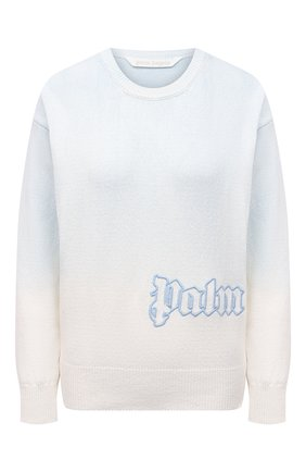 Женский хлопковый пуловер PALM ANGELS светло-голубого цвета, арт. PWHE023S21KNI0020340   Фото 1