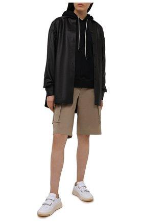 Женские хлопковые шорты PALM ANGELS бежевого цвета, арт. PWCB020S21FAB0016161 | Фото 2